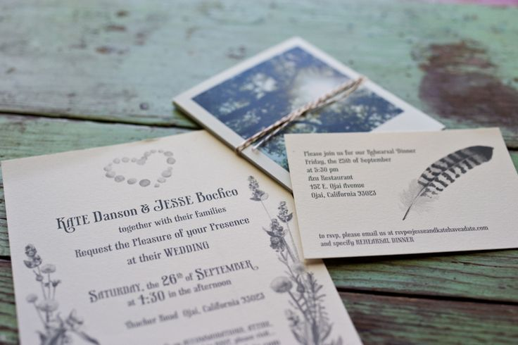 Wedding invites to Kate Danson and Jesee Bocho's wedding