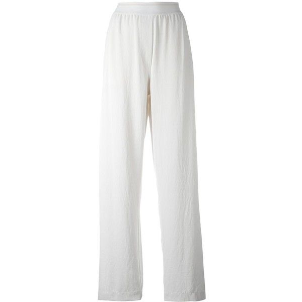DKNY elasticated waist trousers ($545) ❤ liked on Polyvore featuring pants, white, white wide leg pants, dkny pants, elastic waistband pants, elasticated waist trousers and white wide leg trousers