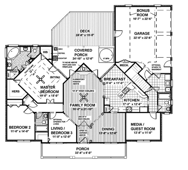 Best Houseplans Images On Pinterest Architecture Dreams And - House designs with master bedroom at rear