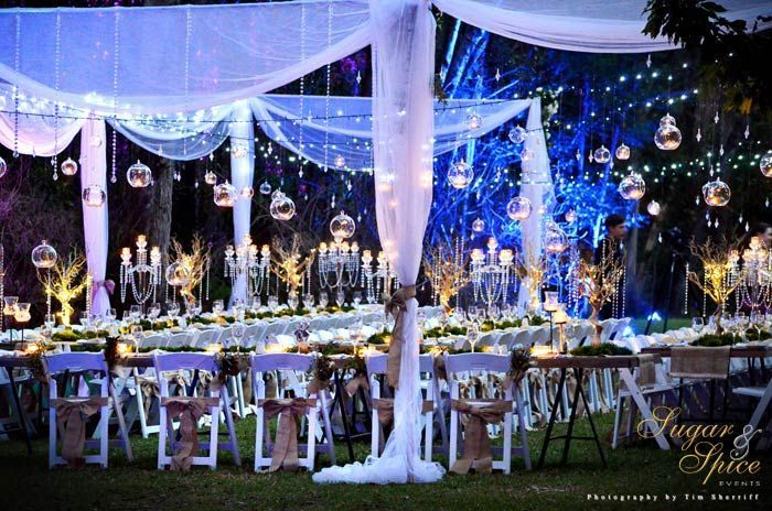 Enchanted Garden Wedding – Rainforest Wedding – Outdoor Wedding – Whimsical Wedding – Fairytale Wedding – Garden Ceremony – Rustic Wedding – Fairylights – Hanging Candles – Wedding Lighting  Sugar & Spice Events – Gold Coast Wedding Decorator