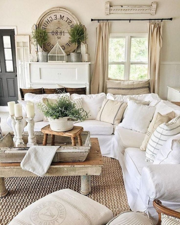 67+ Top Farmhouse Living Room Makeover Decor Ideas