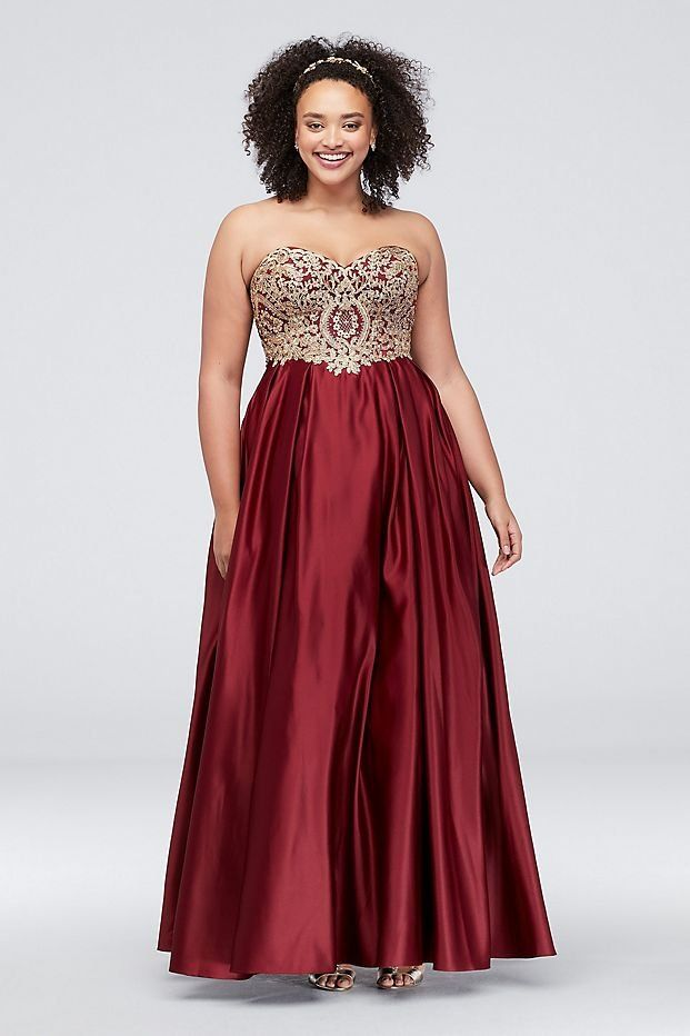 4951cab2c0793 Red and Gold Corded Lace Satin Plus Size Ball Gown Prom Dress from David's  Bridal
