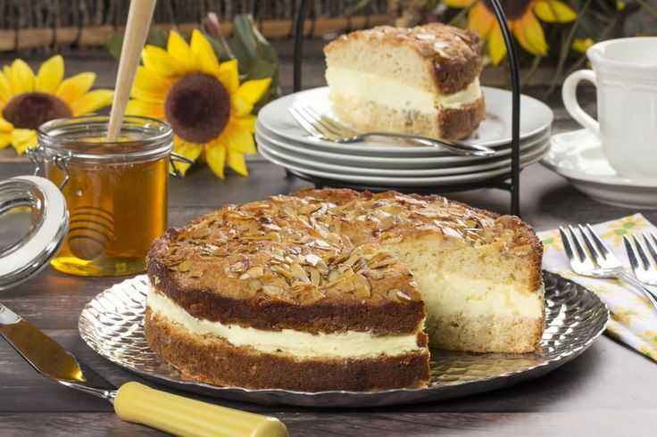 """This dessert is sure to create a lot of """"buzz"""" with your gang! Our German Bee Sting cake is based on the traditional German """"Bienenstich,"""" which is basically a honey-glazed cake with a layer of creamy vanilla custard."""