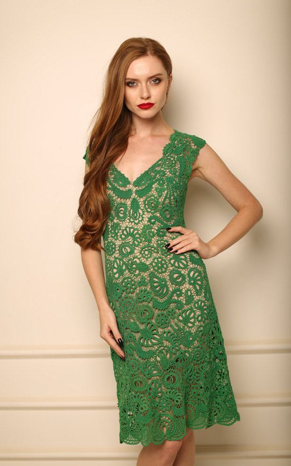 Crochet Evening Dress Selena Womem Dress Green