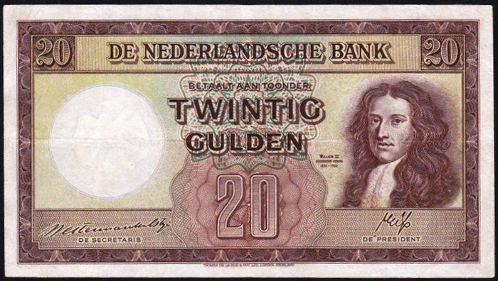 "Currently at the Catawiki auctions: The Netherlands - Banknote 20 Guilders 1945 ""Stadhouder Willem III"" [Stadtholder Willem III]"
