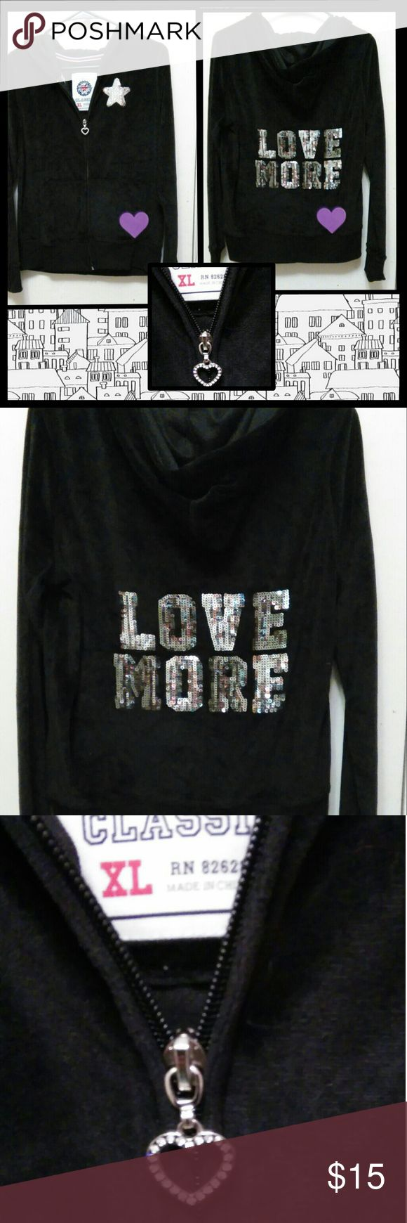 ,🎊New listing🎊 Adorable sequined black hoodie Sz x/l but fits m/l better.... EUC.. see no flaws.... Smoke free home Tops Sweatshirts & Hoodies