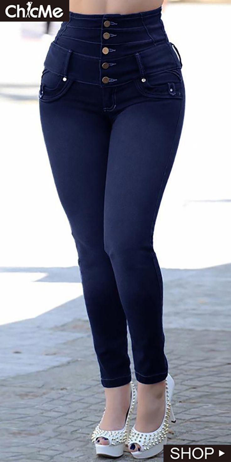 High Waist Button Design Jeans