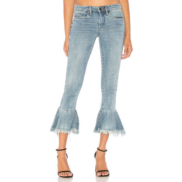 BLANKNYC Ruffle Crop Jean ($92) ❤ liked on Polyvore featuring jeans, ripped jeans, blue ripped jeans, destroyed crop jeans, torn jeans and destroyed jeans