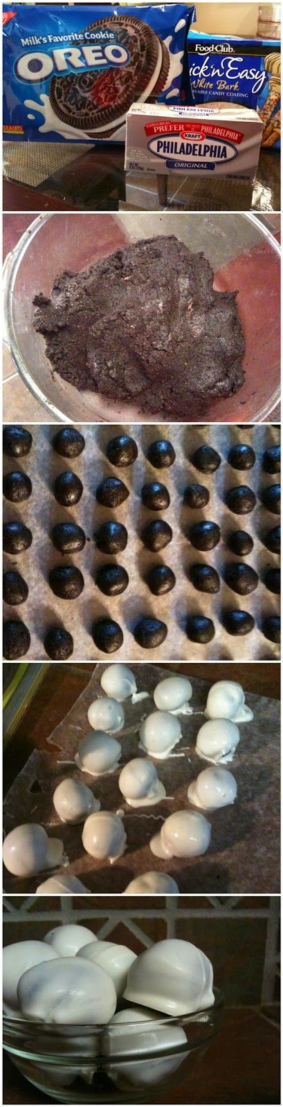 White Chocolate Covered Oreo Balls. These are freaking awesome. And if you do it just right, they look like eyeballs. Great for Halloween.