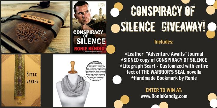Giveaway at Ronie Kendig's website: Conspiracy of Silence Prize Pack #BookGiveaway