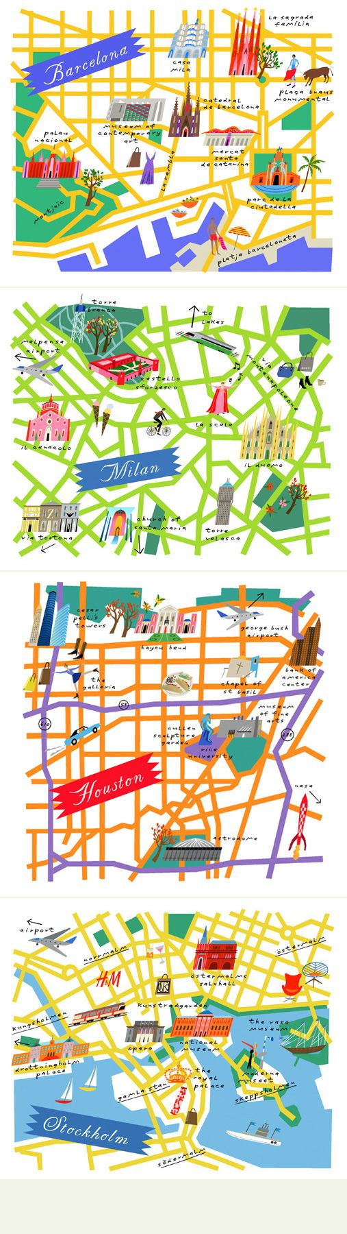 Illustrated maps by Lena Corwin