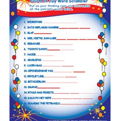 Print out some of these All-American Word Scramble and challenge your ...
