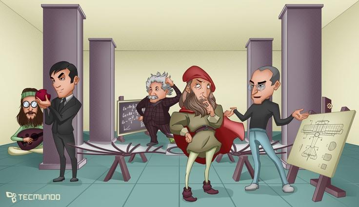 Erro 404: a startup do Vale do Paraíso [ilustração] #Leonardo da Vinci , #Albert Einsten , #Alan Turing #John Lennon , #Steve Jobs