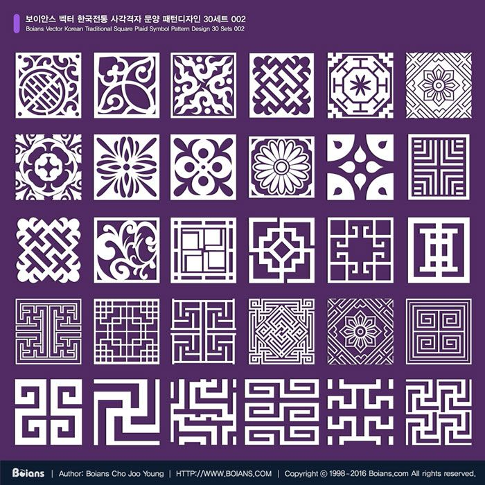 1. Name: Boians Vector Korean Traditional Square Plaid Symbol Pattern Design 30 Sets 002 2. Format: AI 9.0 / RGB Color, Vector 3. License: Standard License, Extended License 4. Price (USD): Standard License, $20, Extended License $60 5. Delivery: Download After Payment 6. South Korea won paymen