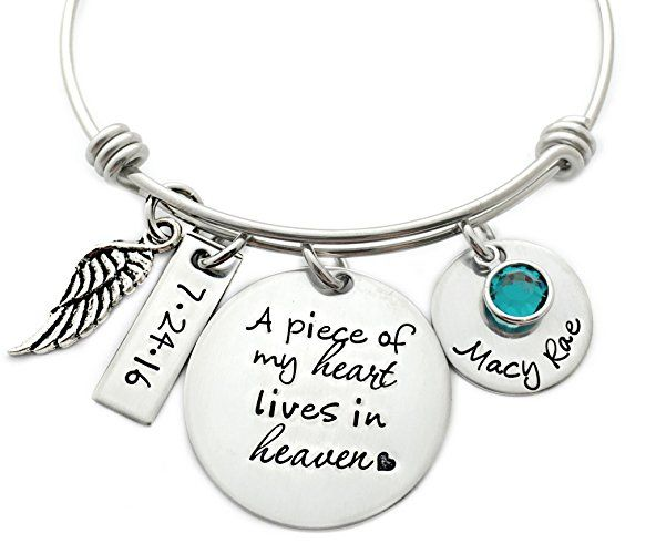A Piece Of My Heart Lives In Heaven Memorial Bangle Bracelet - Hand Stamped Jewelry