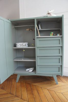 Vintage dresser with drawers and shelves