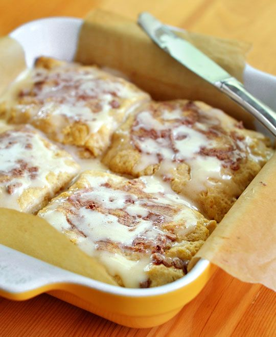 Giant gooey cinnamon biscuits...like cinnamon rolls but quick and easy.