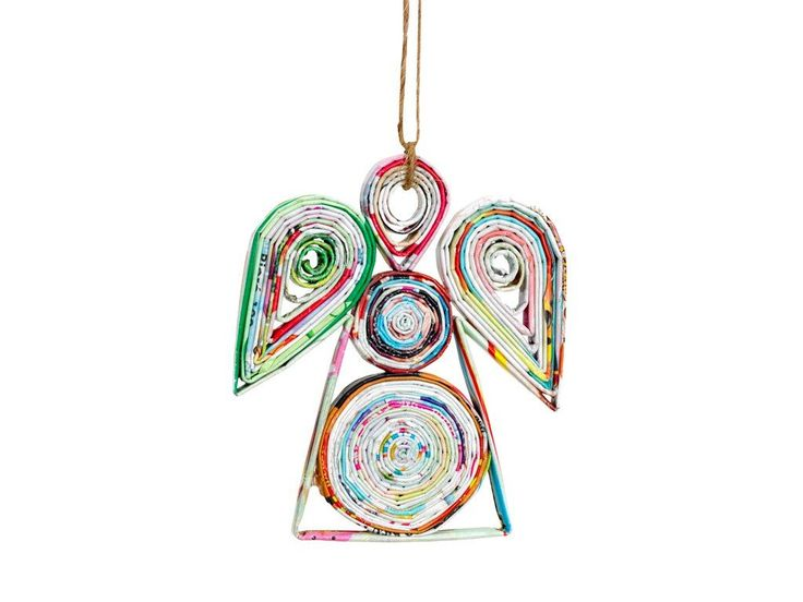Amazon.com - Fair Trade Recycled Paper Ornaments - Angel, Tree or Star (Angel) - Decorative Hanging Ornaments