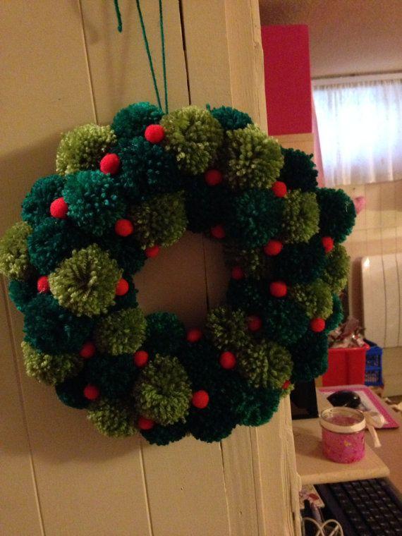 Christmas Pom Pom Wreath by KellysCrafts56 on Etsy