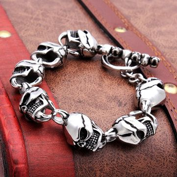 316L Stainless Steel Skull Toggle Bracelet Silver Tone Men Jewelry at Banggood