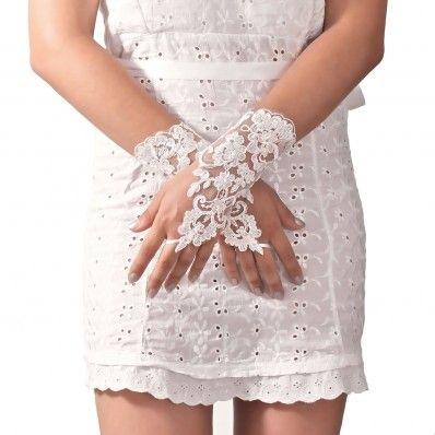 Bridal lace short gloves with bow - Guanti da sposa corti in pizzo con fiocco