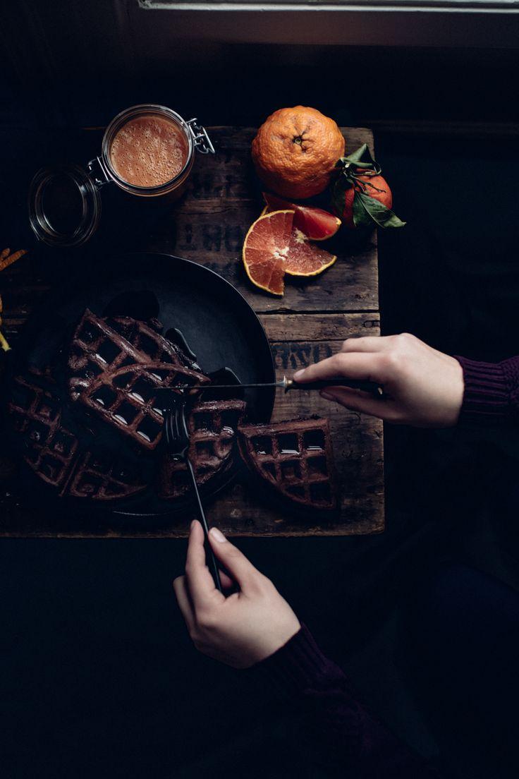 Dark Chocolate Waffles with Citrus Puree - Christiann Koepke