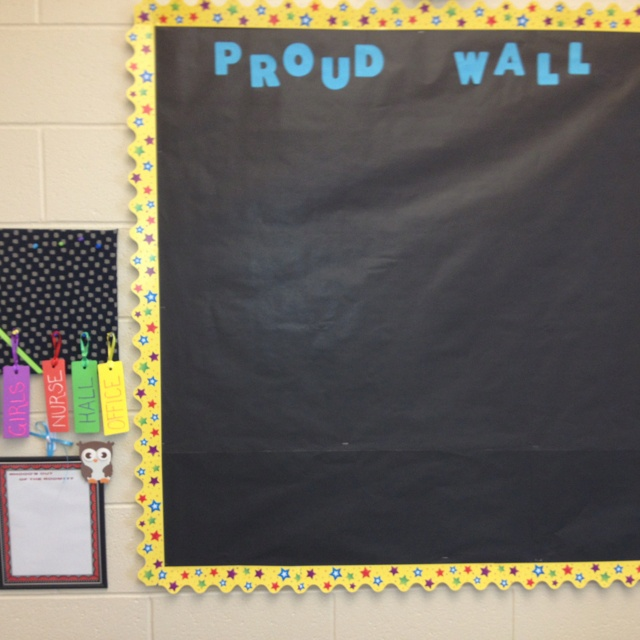 Proud wall...students display work they are proud of!