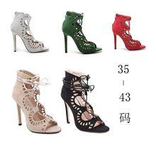 Mulheres Sandálias Marca Designer Gladiador Sexy de Salto Alto Do Dedo Do Pé Aberto Recortes Mulheres Sapatos Rendas Até Sapatos de Mulher Bombas Sandalias Mujer alishoppbrasil