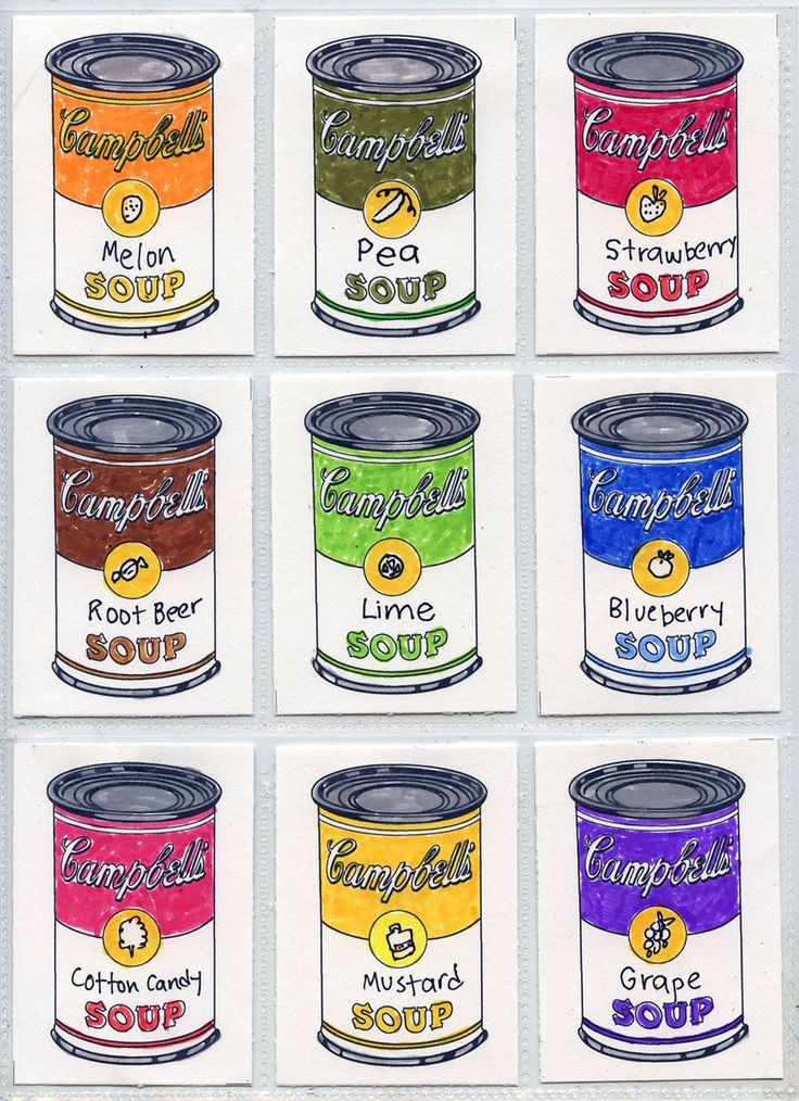 Warhol Campbell Soup Can template for ATC. Art Projects for Kids