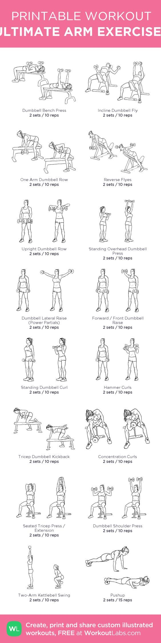 ULTIMATE ARM EXERCISES: my custom printable workout by @WorkoutLabs #workoutlabs #customworkout: