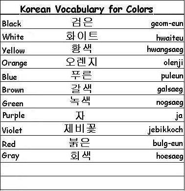 Korean Vocabulary Words for Colors - Learn Korean