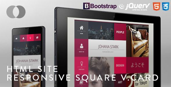 HTML Site - Adaptive Bootstrap Square vCard   http://themeforest.net/item/html-site-adaptive-bootstrap-square-vcard/4902009?ref=damiamio         Stand out with this modern looking template without the need to sacrifice features and flexibility. Based on Bootstrap, HTML5, CSS3 and JQuery the Square vCard provides you with the latest trends in Web Technology. Thank you and enjoy!   UPDATE 27 June 2013   Updated the template to increase compatibility with mobile devices   UPDATE 14 June 2013…