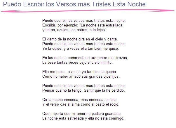 Puedo Escribir los Versos mas Tristes Esta Noche (Poema XX) Pablo Neruda