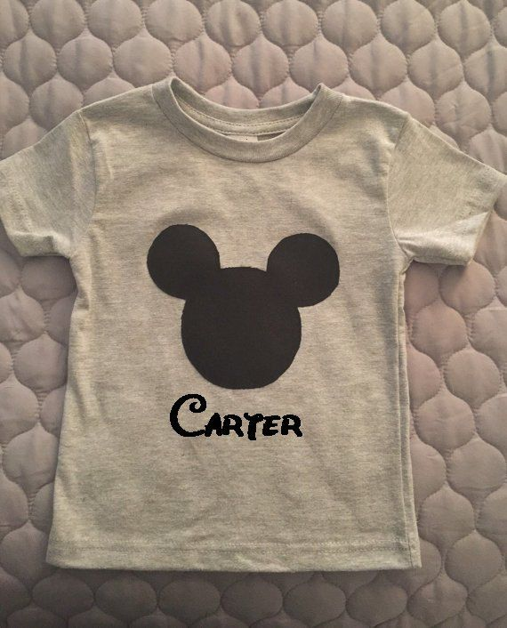 Mickey Mouse custom applique and embroidered name grey and black boys birthday shirt, disney shirts, mickey tee