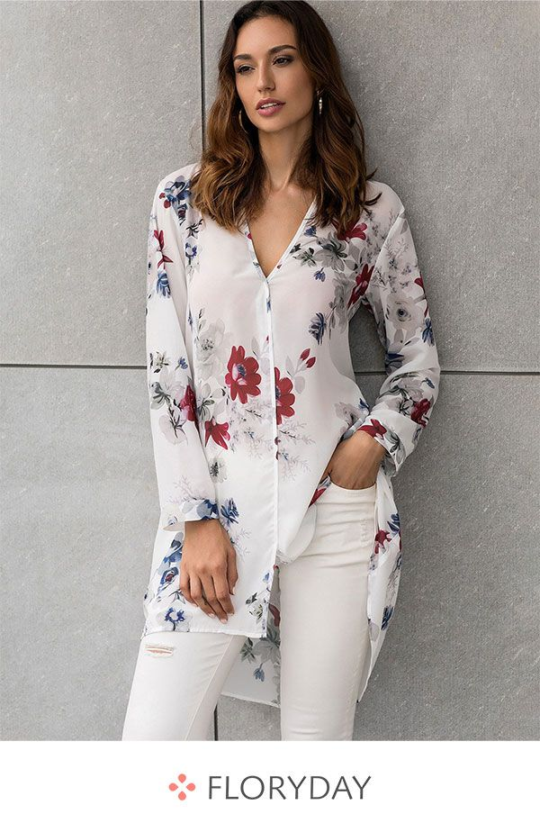 Floral casual V-neckline long sleeve blouses e8acc9cd0029