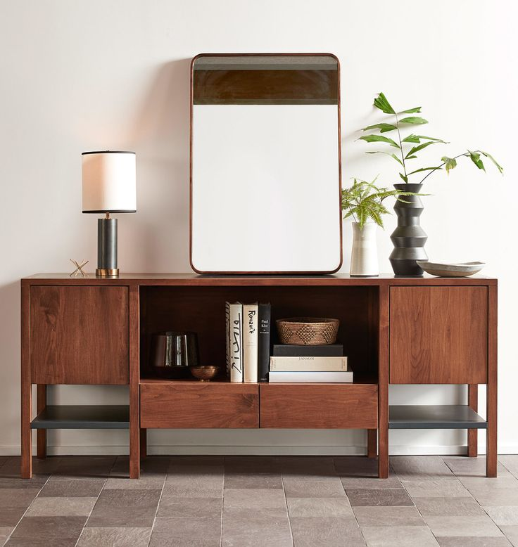 Solid Walnut Rounded Rectangle Mirror Walnut