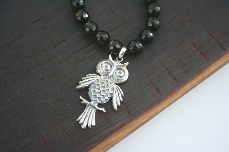 Are you an OWL LOVER?? Then this is for you!   Sterling Silver Owl Pendant on Black Onyx by 2BeadingHeartsJewels on Etsy