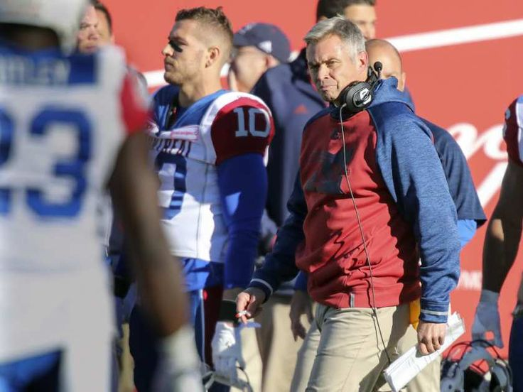 WK 16 - Edm.40 - Mtl.20 - Montreal Alouettes' interim head coach Jacques Chapdelaine paces on the sidelines during CFL action at Molson Stadium in Montreal on Monday, Oct. 10, 2016.