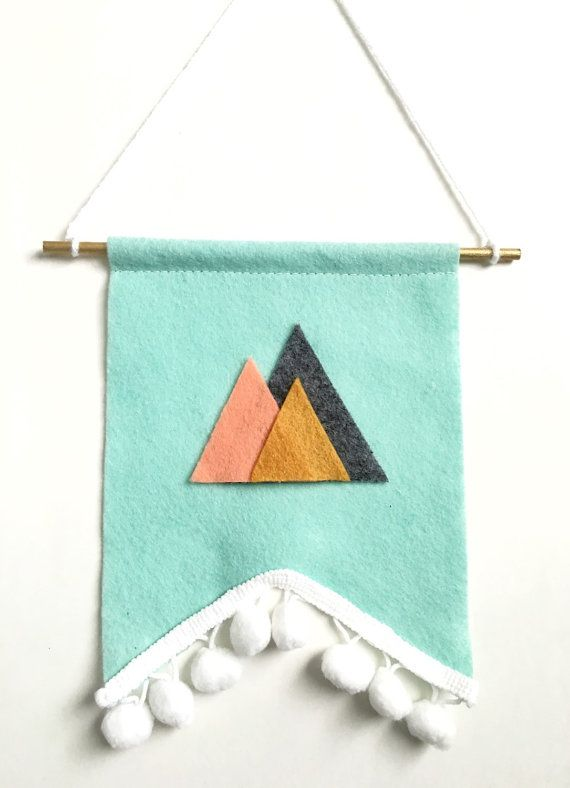 Nursery Decor, Mountain Banner, Bedroom Decor, Woodland Nursery, Gender Neutral Nursery, Felt Banner, Custom Banner, Nursery Wall Art