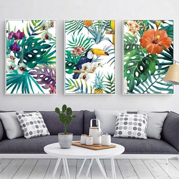 Tropical Rainforest Watercolor Plants Flower Bird Natural Style