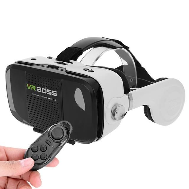 """VR BOSS 3D VR Glasses Virtual Reality Headset Head-Mounted 3D VR Box Case with HIFI Stereo Bass Headphone for 4-6.3"""" Smart Phone"""