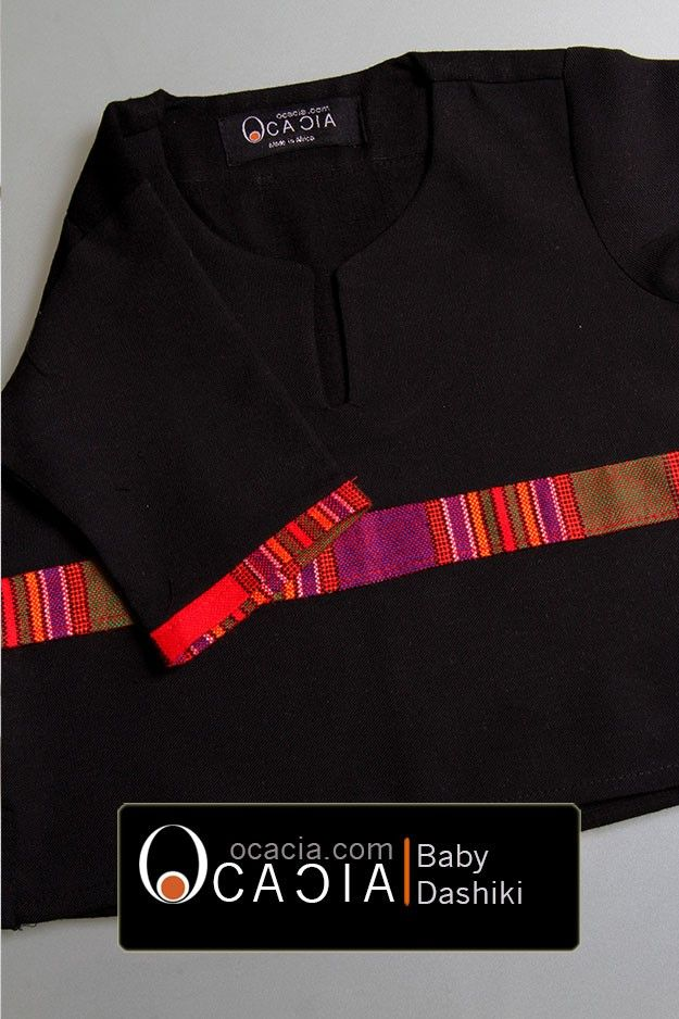 Baby Maasai DashikiStart the young ones in African clothes early. Rock them in some continental threads made in Africa.This black linen top comes with a authentic Maasai fabric accent on the body and on the sleeves. from ages 6 months to 1 year. If you would like a larger size please contact us.