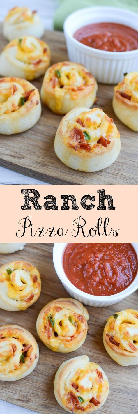 Ranch Pizza Rolls - easy snack or quick dinner idea! Ranch dressing, pepperoni, and cheese is rolled up in refrigerated pizza dough and baked until golden brown and delicious!