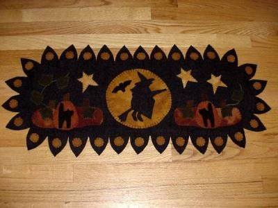 New Penny Rug Patterns | Catalog > Witch Penny Rug Wool Runner
