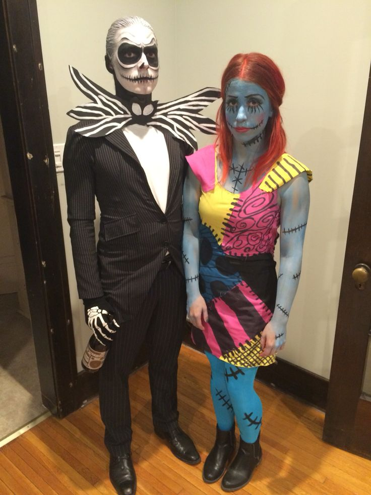 jack skellington and sally halloween tim burton diy makeup couple costume - Halloween Jack Costume