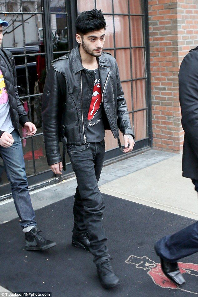 In the Big Apple: Zayn was seen leaving his New York hotel a day earlier...