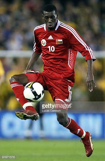Fawzi Bahir of Oman controls the ball during the Asian Cup Group B qualifying match between the Australian Socceroos and Oman at Etihad Stadium on...