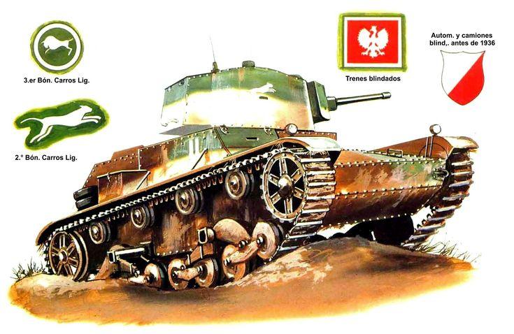 7TP jw. (torre única), comandante de la 2.ª Compañia, 2.° Batallón de Carros de Combate Ligeros (2.° Batallón Acorazado); Polonia, septiembre de 1939. Terry Hadler. Está pintado según el esquema mimético estándar de 1936. Las dos barras blancas verticales identifican la compañia, y la franja horizontal de debajo, al comandante de la misma. La insignia, un «gato montés saltando» del batallón en la torre, pudo haber sido pintada al prepararse para la guerra. Más en www.elgrancapitan.org/foro/