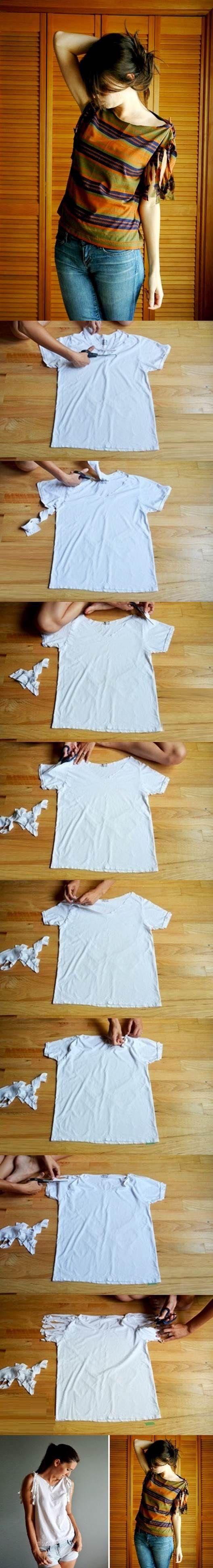 DIY No-Sew Refashion a Basic Tee | iCreativeIdeas.com Like Us on Facebook ==> https://www.facebook.com/icreativeideas