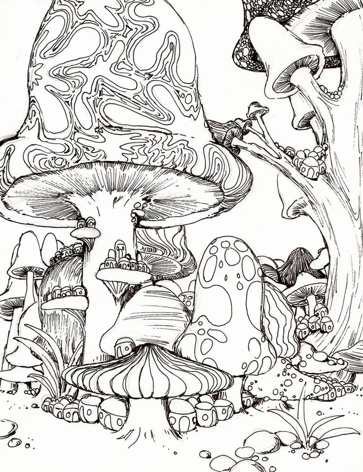 Trippy Mushroom Coloring Page Images